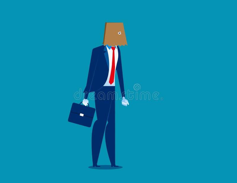 Biznesmen chująca tożsamości papierowej torby głowa Pojęcie biznesowa wektorowa ilustracja Charakteru mieszkanie royalty ilustracja