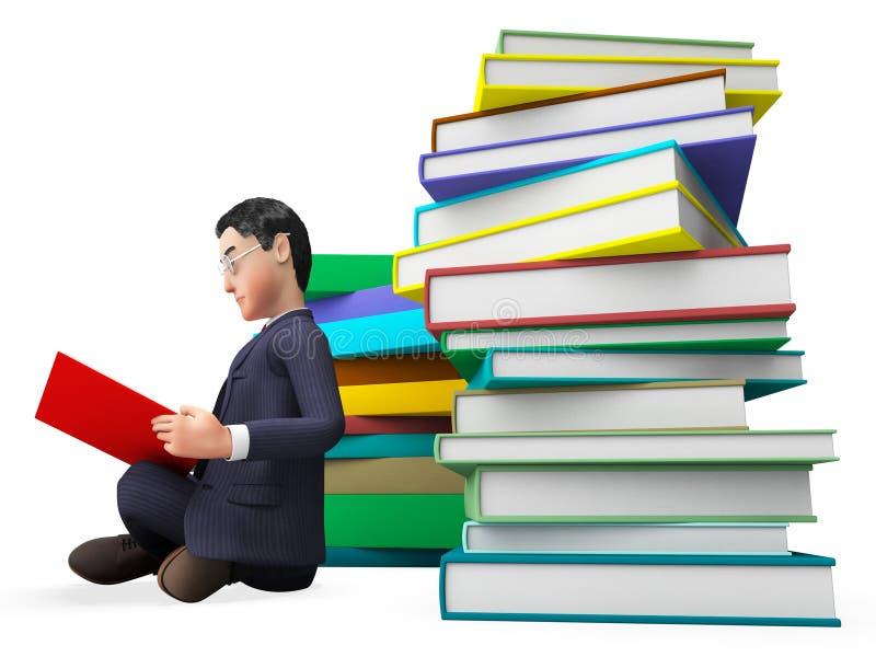Biznesmen Czytelnicze książki Reprezentują Faq uniwersyteta I pomoc ilustracja wektor