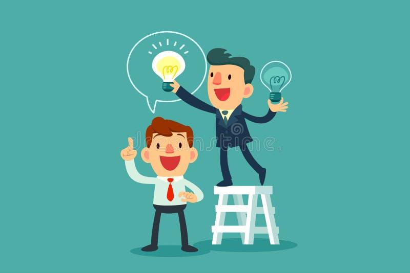 Biznesmen daje innemu biznesmenowi nowej pomysł żarówce ilustracji