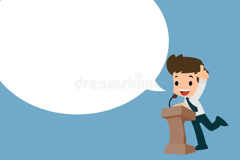 Biznesmen daje jego mowie przy podium rozprzestrzeniać słowa ilustracja wektor