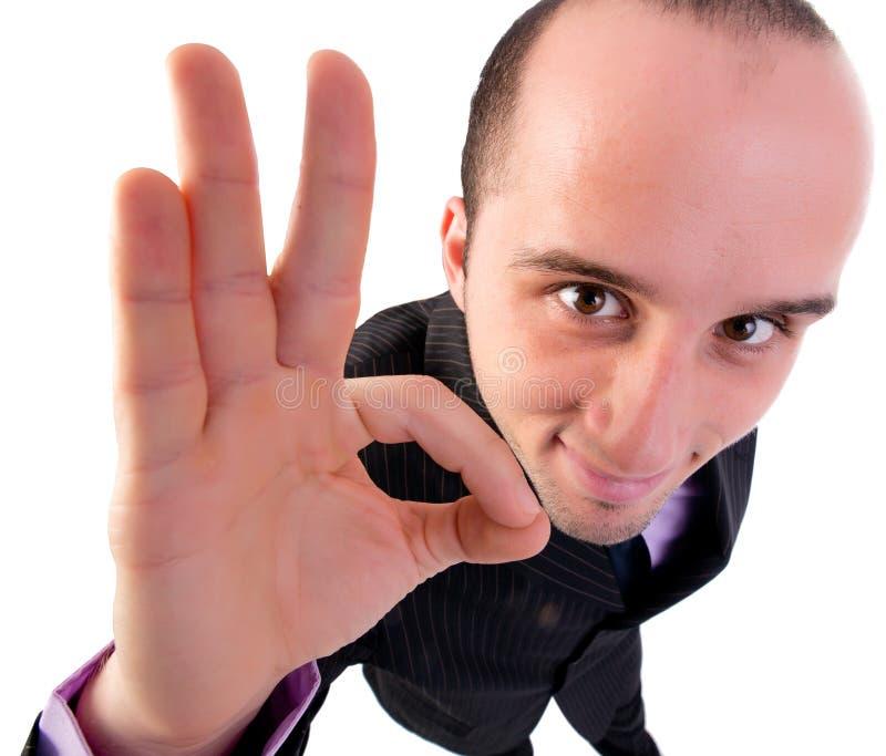 Biznesmen daje OK gestowi zdjęcie stock