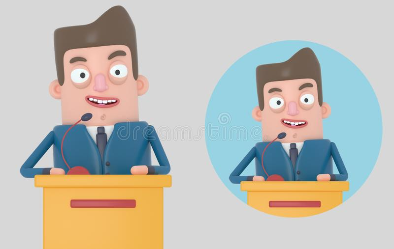 Biznesmen daje spotkania odosobniony 3d ilustracji