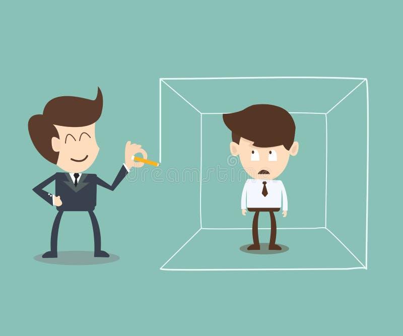 Biznesmen definiujący terenu pomysłu pojęcie ilustracja wektor
