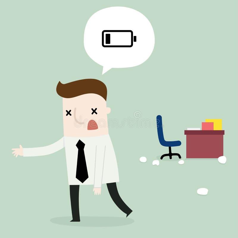 Biznesmen depresji bateria royalty ilustracja