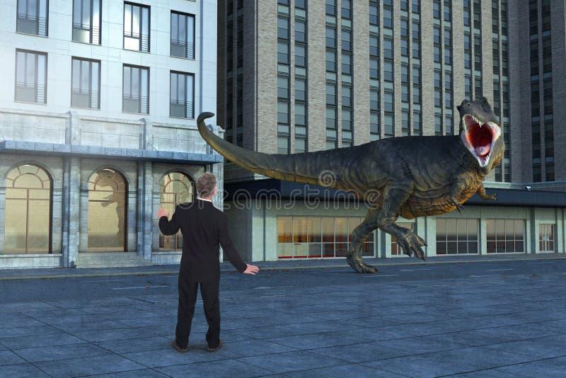 Biznesmen, dinosaur, T-Rex, miasto ulica zdjęcia stock