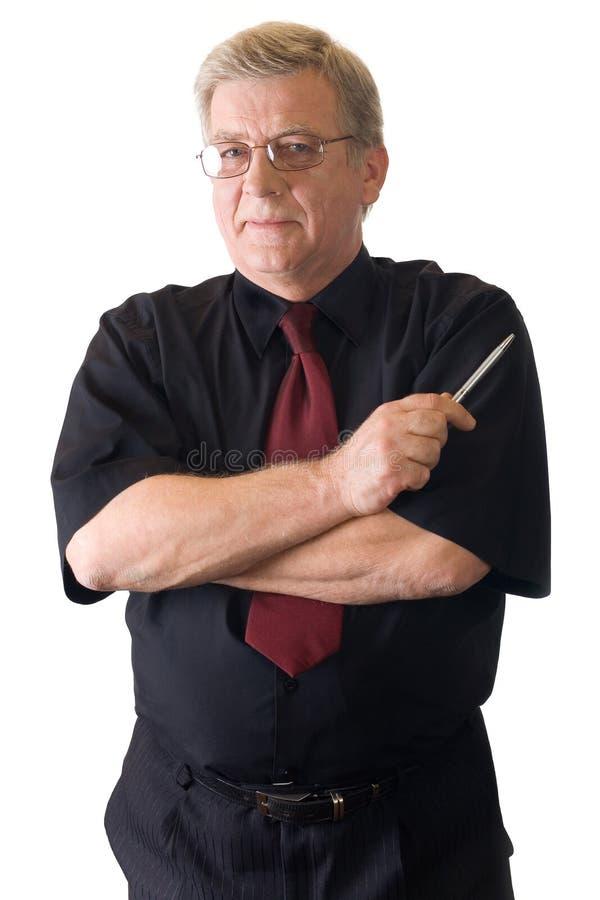 biznesmen dojrzały odizolowane nauczyciela uśmiechasz white obrazy stock