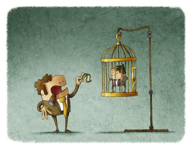 Biznesmen dokucza pracownika i wyśmiewa ilustracji