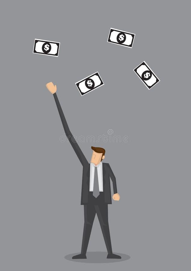 Biznesmen Dosięga Out dla Latających Dolarowych notatek royalty ilustracja