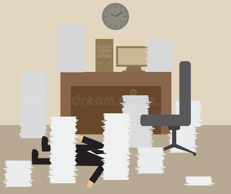 Biznesmen dostaje puknięcie od Ciężkiego działania ilustracja wektor