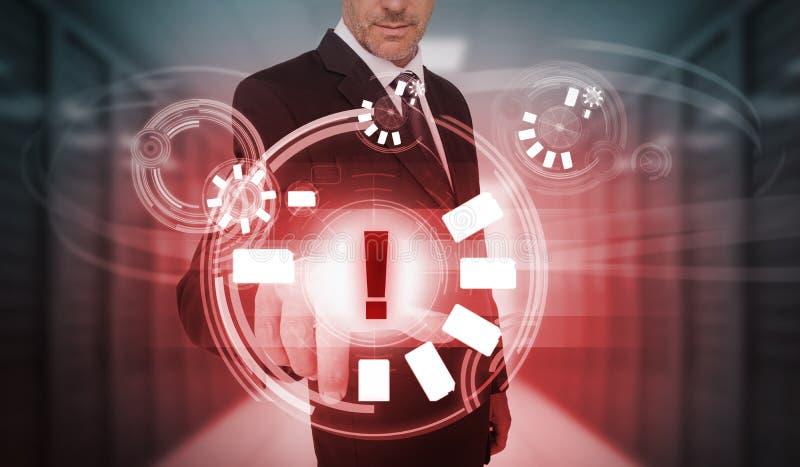 Biznesmen dotyka futurystycznego ostrzegawczego ikona interfejs ilustracja wektor