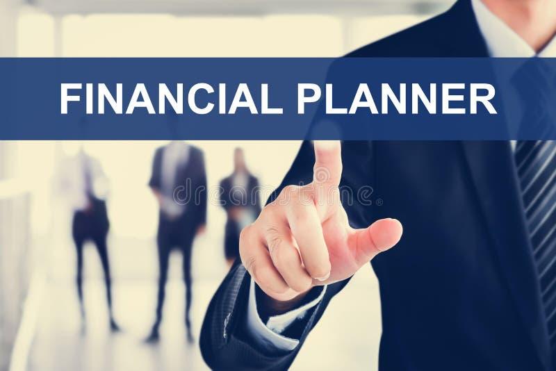 Biznesmen dotyka PIENIĘŻNEGO planisty znaka na wirtualnym scre zdjęcia stock