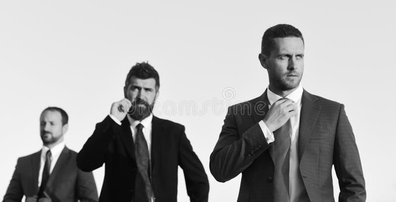 Biznesmen dotyka wąsa Mężczyzna z brodą i koncentrującym twarzy spojrzeniem obraz royalty free