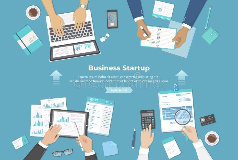 Biznesmen drużyna dyskutuje projekta rozpoczęcie, inwestycja, pieniężny planowanie, zgoda, analiza dane, realizacja, sukces royalty ilustracja