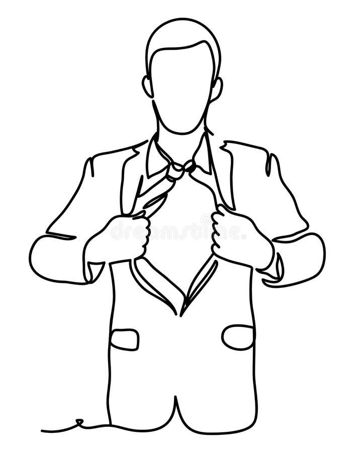 Biznesmen drzeje koszula Biznesowa pojęcie ilustracja Ciągły kreskowy rysunek Odizolowywający na białym tle wektor royalty ilustracja