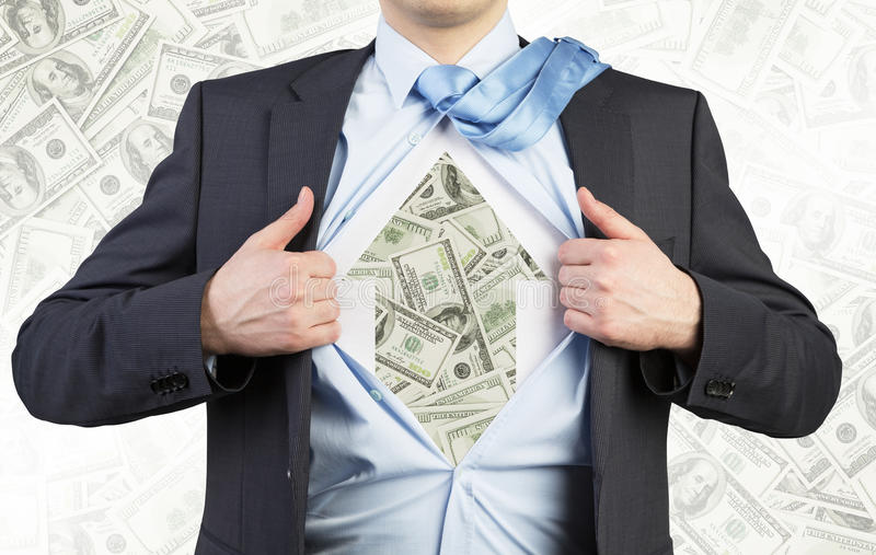 Biznesmen drzeje koszula na klatek piersiowych Dolarowych notatkach pod koszula Pojęcie biznesowa dusza zdjęcie royalty free