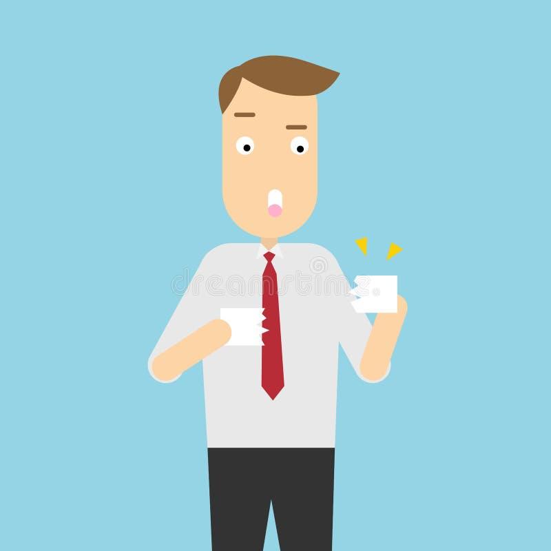 Biznesmen drzeje papier Wektorowy ilustracyjny charakter ilustracja wektor