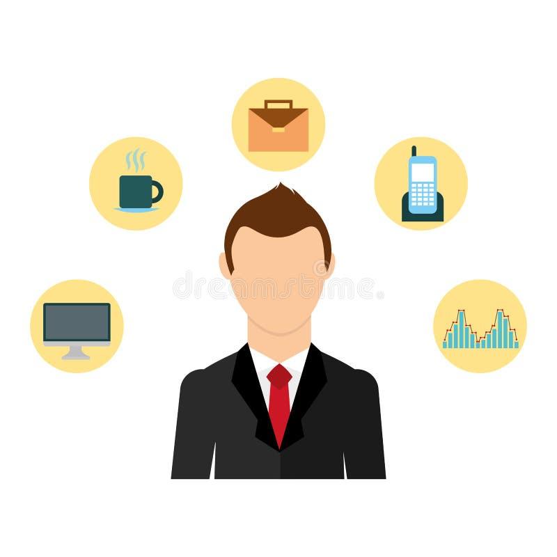 Biznesmen elegancki z ustalonym ikony avatar charakterem ilustracji