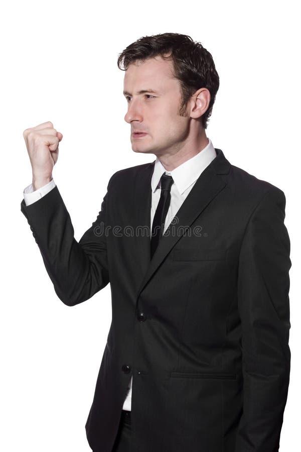 biznesmen gniewna pięść jego seans zdjęcia stock