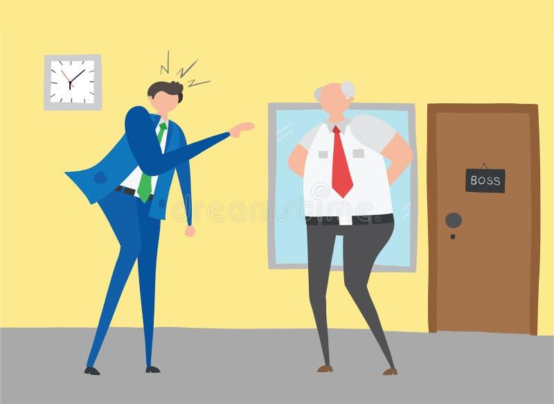 Biznesmen gniewny i krzyczy przy jego szefem, pociągany ręcznie wektorowa ilustracja royalty ilustracja