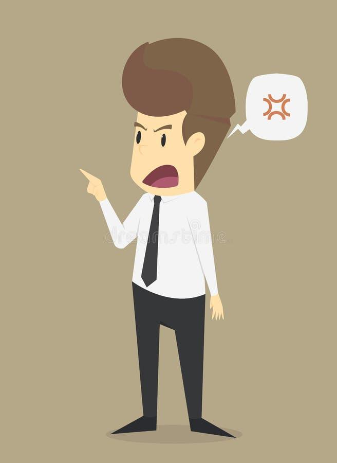 Biznesmen gniewny, wrzeszczy szalonego royalty ilustracja
