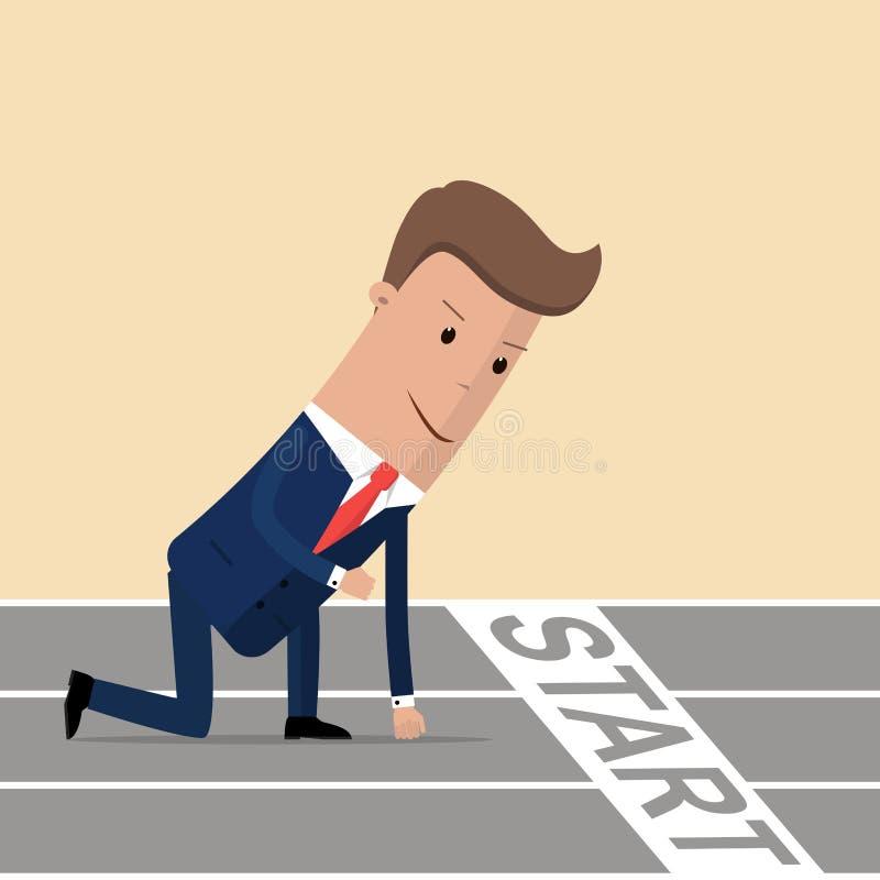 Biznesmen gotowy biec sprintem na początku Zaczynać kariery pojęcie również zwrócić corel ilustracji wektora ilustracja wektor