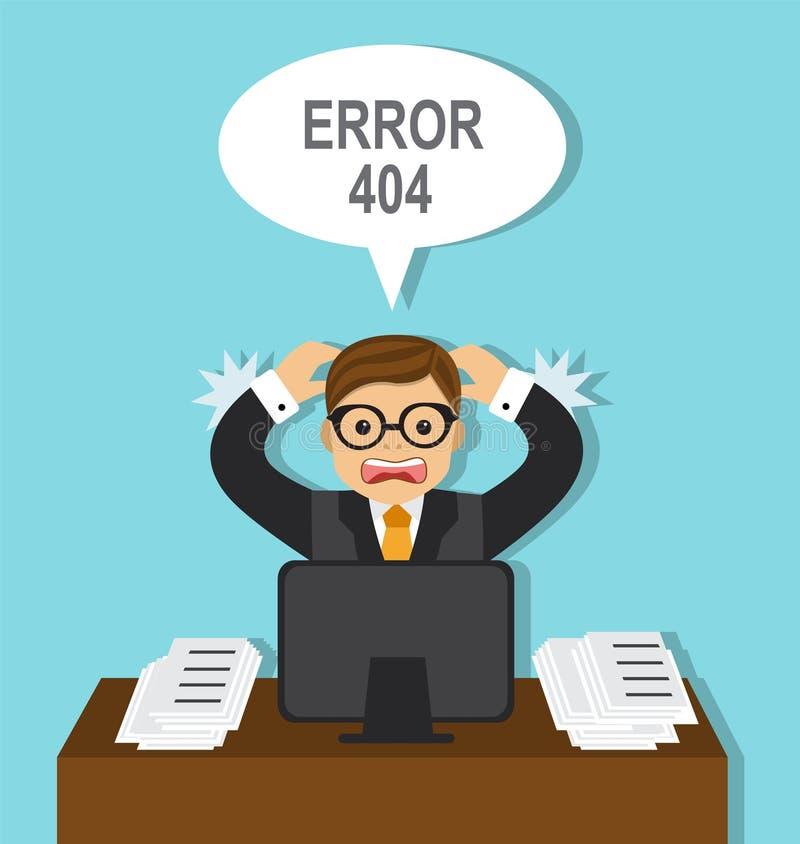 Biznesmen i błąd w pracie ilustracja wektor