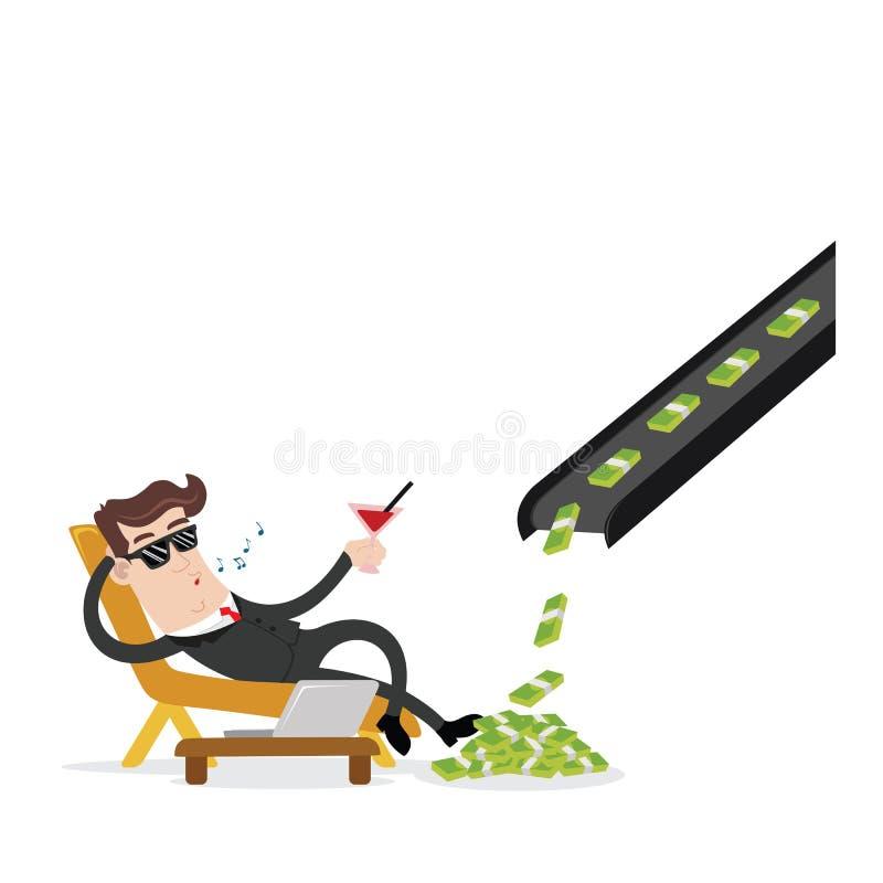 Biznesmen i bezwolny dochód ilustracja wektor
