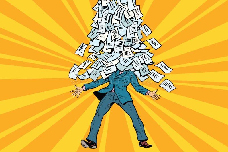 Biznesmen i biurokracja, góra papierkowa robota royalty ilustracja