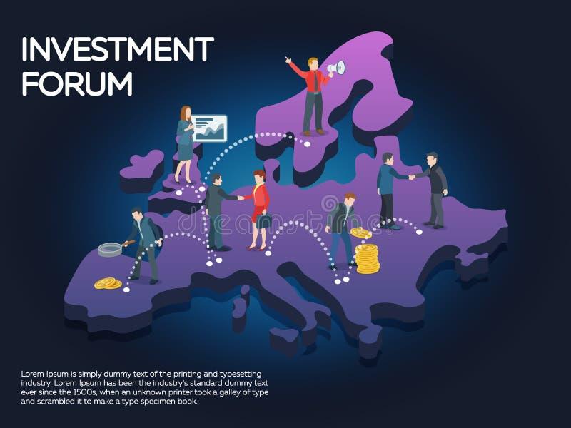 Biznesmen i bizneswoman wchodzić do w kontrakt Ludzie na Europe mapie 3d Biznesowego rozpoczęcia pracy momentów mieszkania sztand zdjęcia royalty free