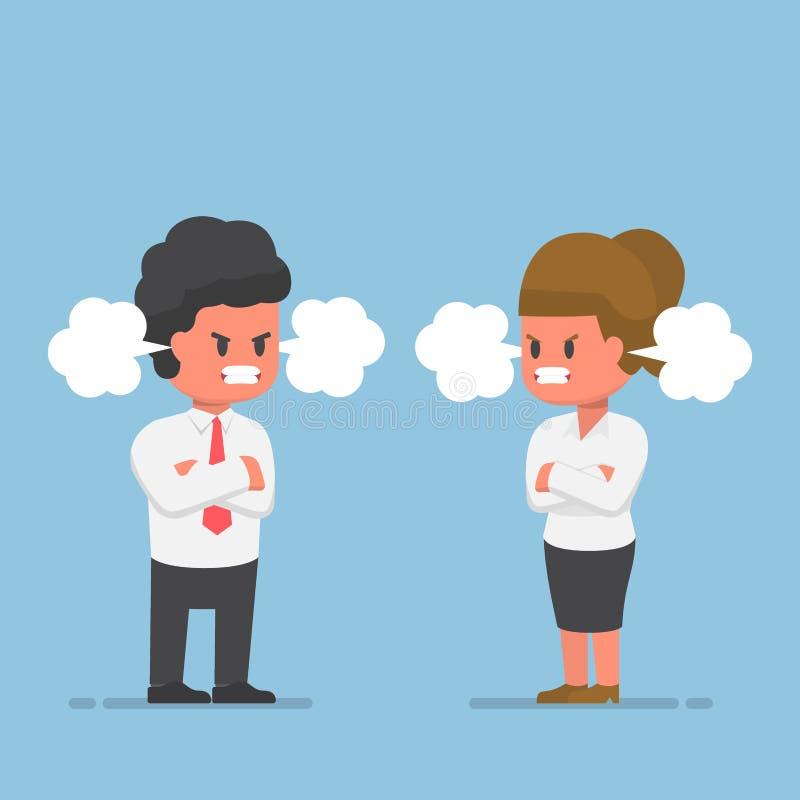 Biznesmen i bizneswoman z Czerwoną twarzą furia royalty ilustracja