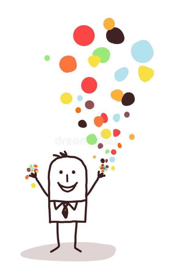 Biznesmen i confetti royalty ilustracja