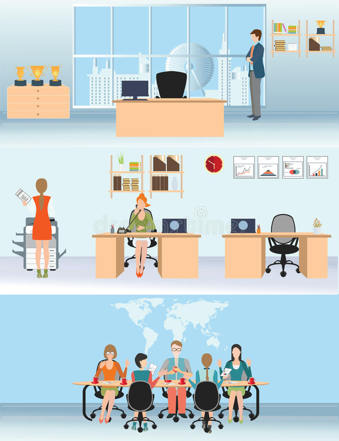 Biznesmen i kobieta w wewnętrznym budynku biurowym ilustracji