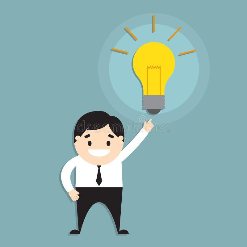 Biznesmen i lightbulb ilustracja wektor