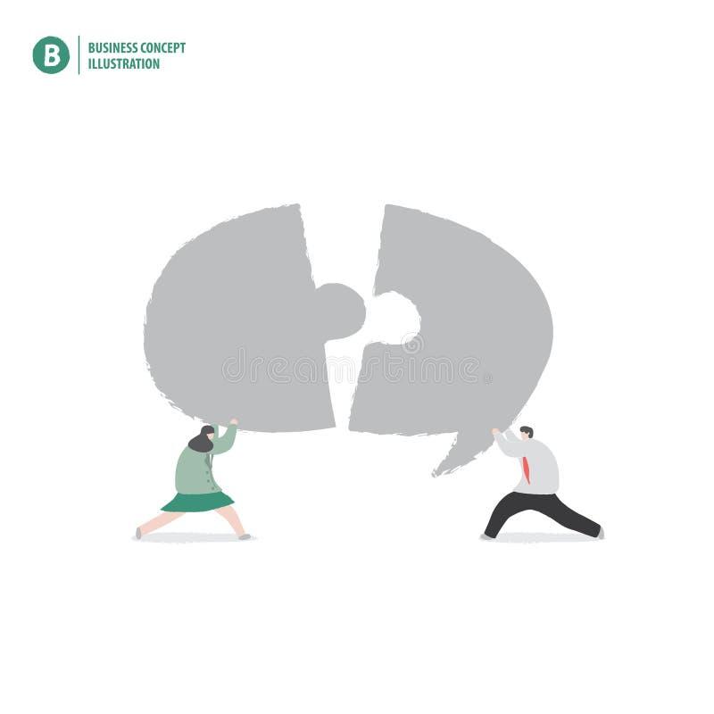 Biznesmen i mowa gulgoczemy wyrzynarki łamigłówki znaczenia rada lub co ilustracji