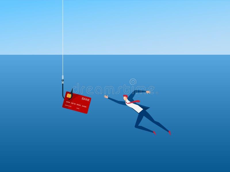 Biznesmen i phishing haczyk kredytowa karta Złodzieja hacker kraść kredytową kartę dane pieniądze i Niebezpieczna finansowa sytua ilustracji