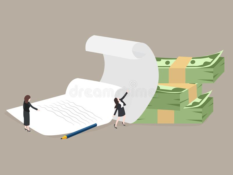 Biznesmen i stosy papiery Biznesowy pojęcie - pracuje z dokumentacją, obieg, biurokracja Wektor, ilustracja ilustracji