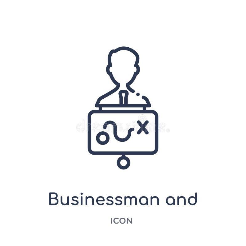 biznesmen i strategii ikona od początkowej kontur kolekcji stategy i sukcesu Cienieje kreskową biznesmena i strategii ikonę ilustracja wektor
