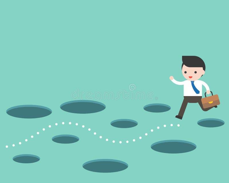 Biznesmen i trasa bez dziury, planowania i przeszkody ominięcia pojęcia, ilustracji
