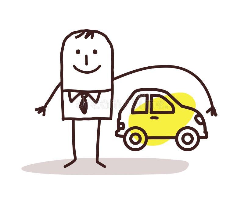 Biznesmen i ubezpieczenie samochodu ilustracji