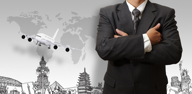 Biznesmen i wymarzona podróż dookoła świata obraz stock
