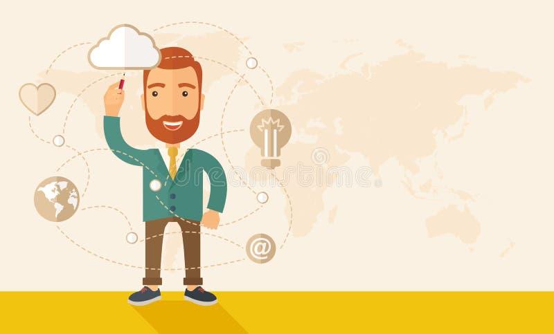 Biznesmen ilustruje jego plan biznesowego ilustracja wektor