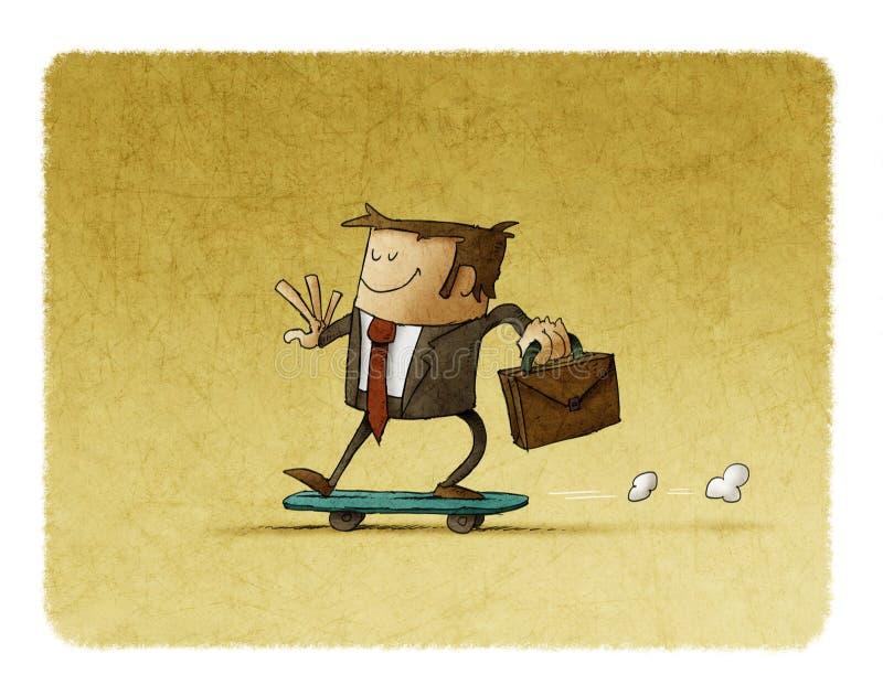Biznesmen jazda na deskorolka royalty ilustracja