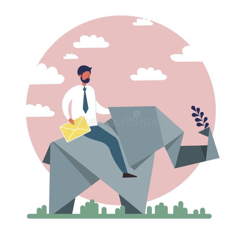 Biznesmen jazdy papieru słonia wektor royalty ilustracja