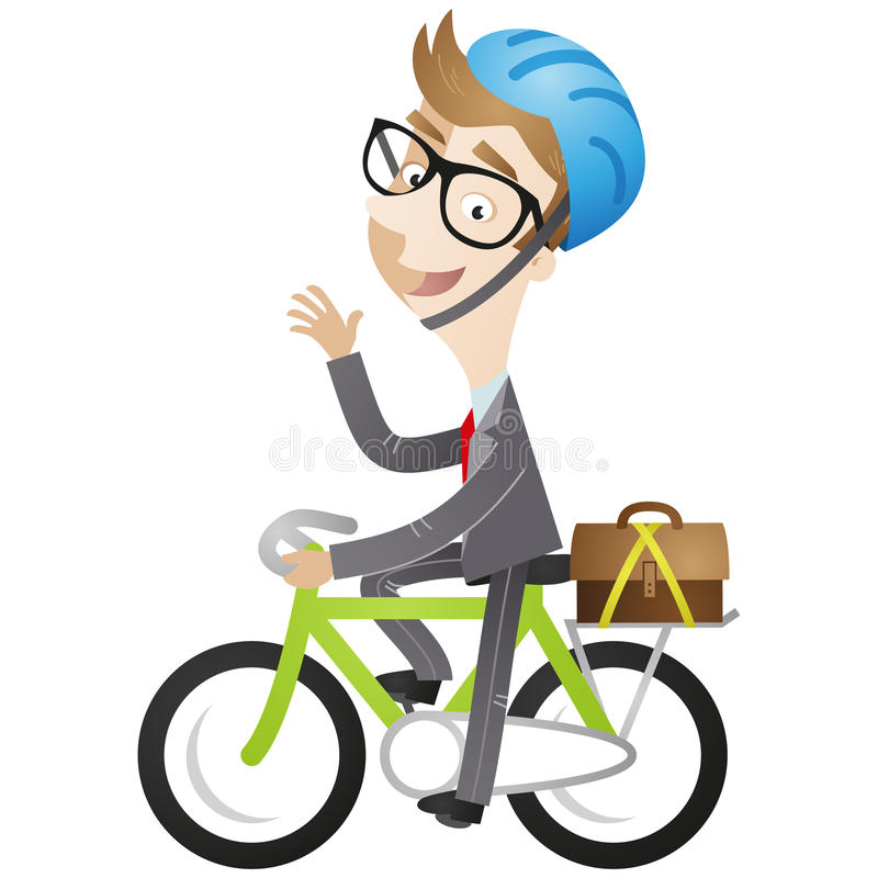 Biznesmen jedzie jego rower ilustracji