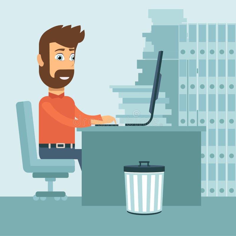 biznesmen jego działanie laptopa Płaska wektorowa ilustracja royalty ilustracja