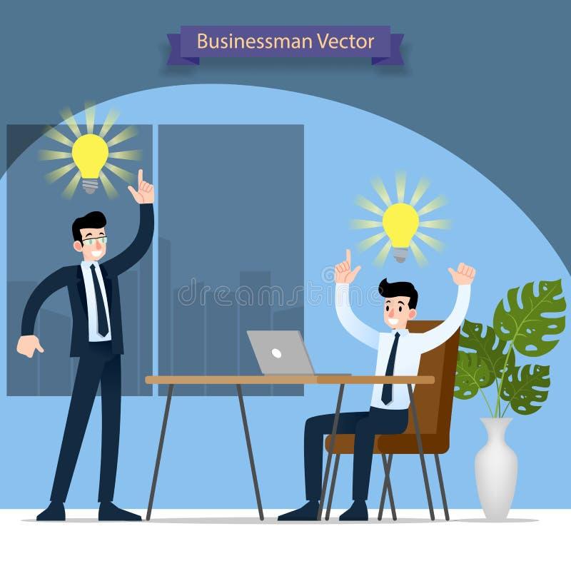 Biznesmen, jego szef i znalezisko praca i rozwiązanie pomyślni w biurze dyskutuje z symboliczną żarówką nad ich głowa royalty ilustracja