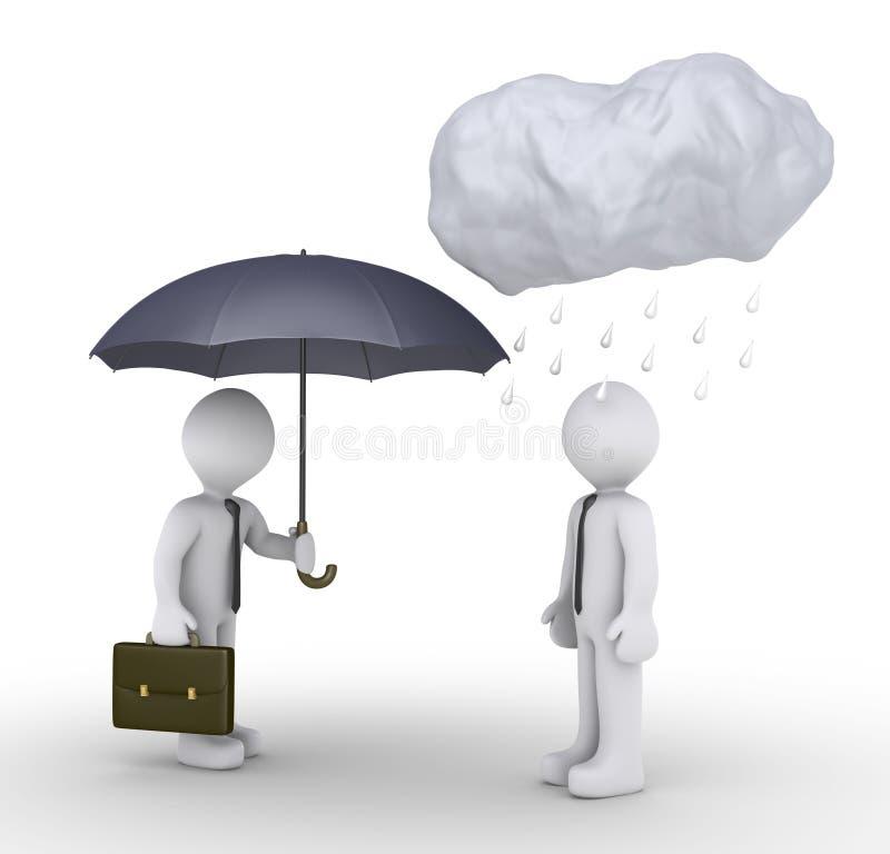 Biznesmen jest daje parasolowi feralna osoba ilustracji