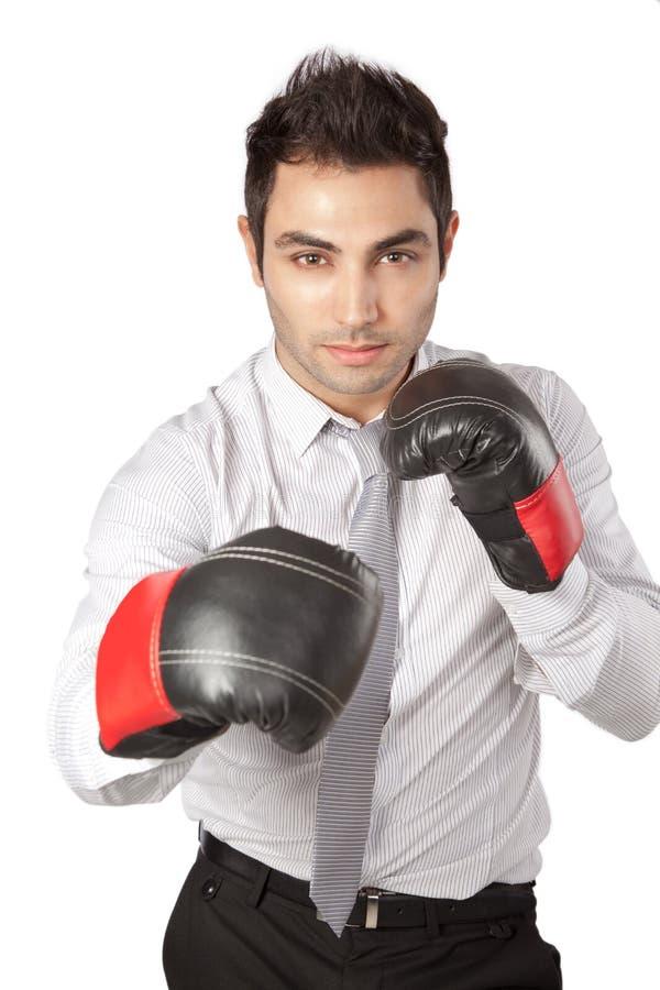 Biznesmen Jest ubranym Bokserskie rękawiczki fotografia royalty free