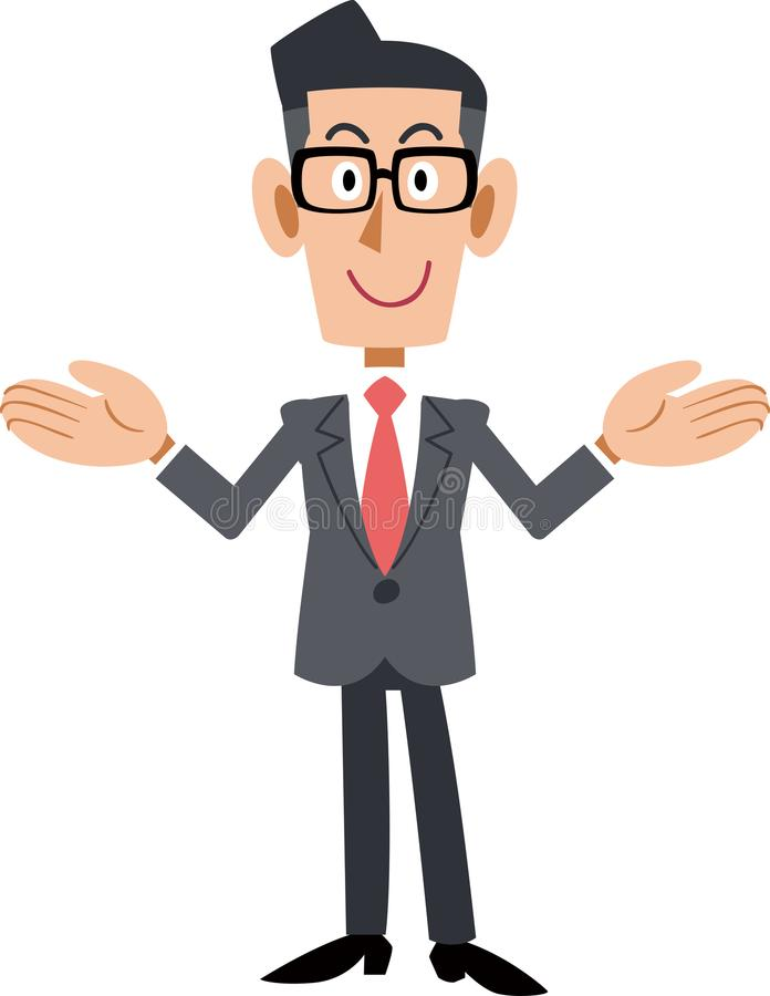 Biznesmen jest ubranym szkła który rozprzestrzenia oba ręki royalty ilustracja