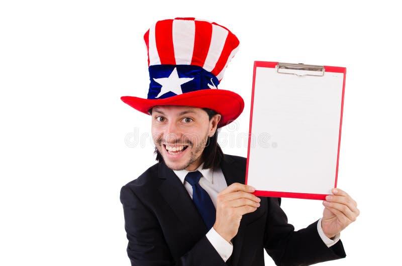 Biznesmen jest ubranym usa kapelusz z papierem zdjęcie stock